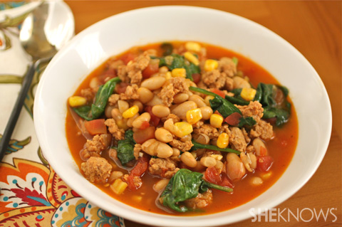 White bean, spinach, and chorizo chili