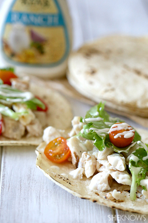 Fast and easy chicken Ranch tacos