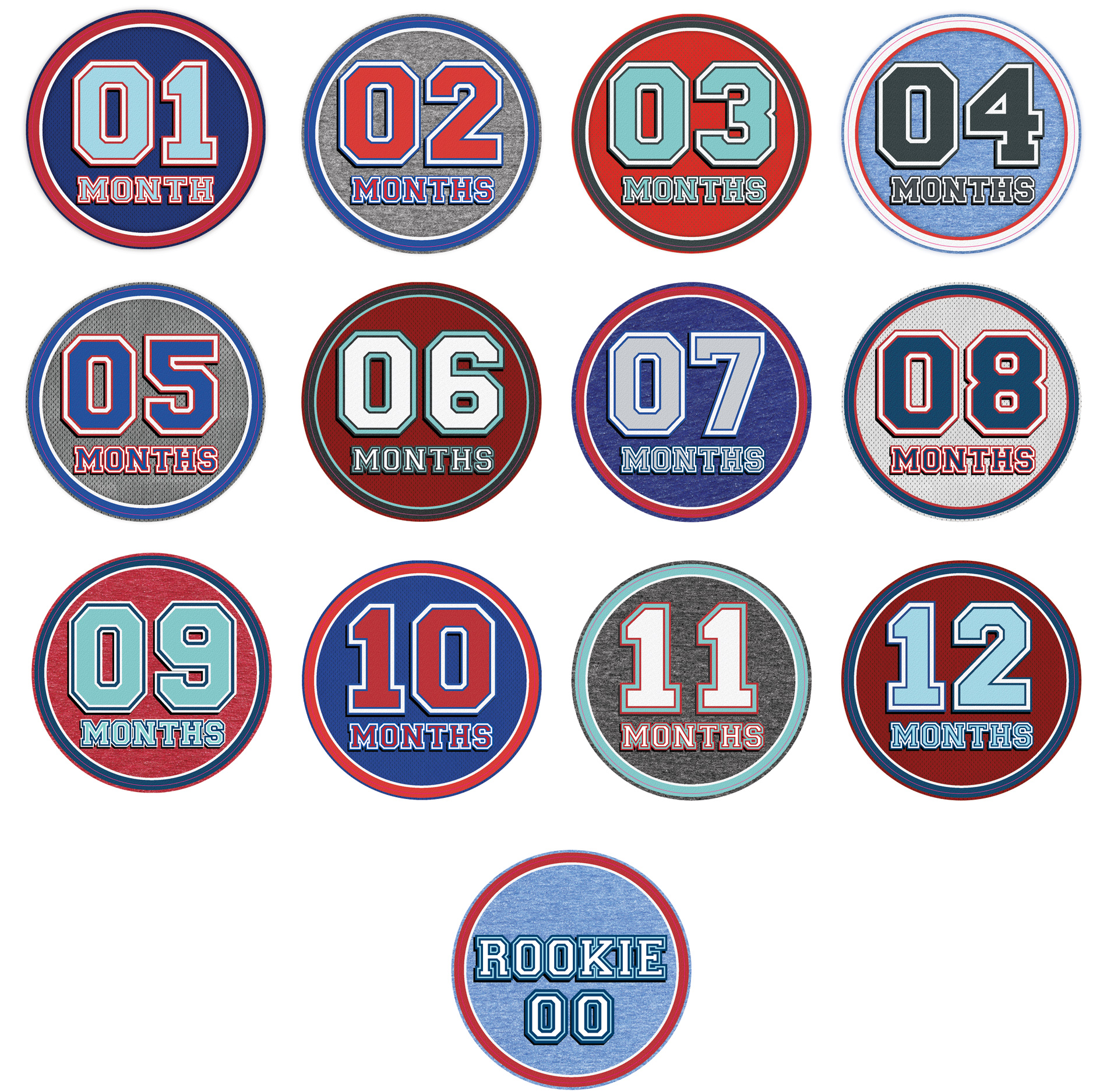 Sports themed milestone stickers