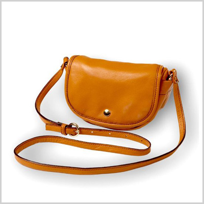 Clava Bags Page Leather Mini Crossbody in Tan