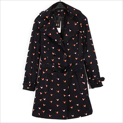 Women's Turn-Down Collar Double Breasted Bird Print Coat