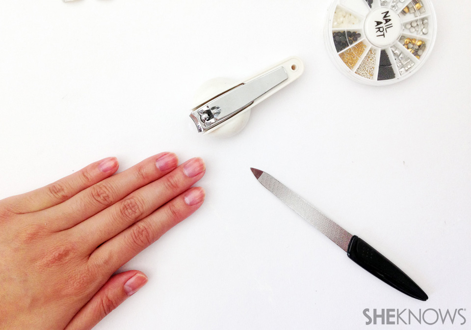 Dramatic flip manicure: Step 1: Prepare you nails