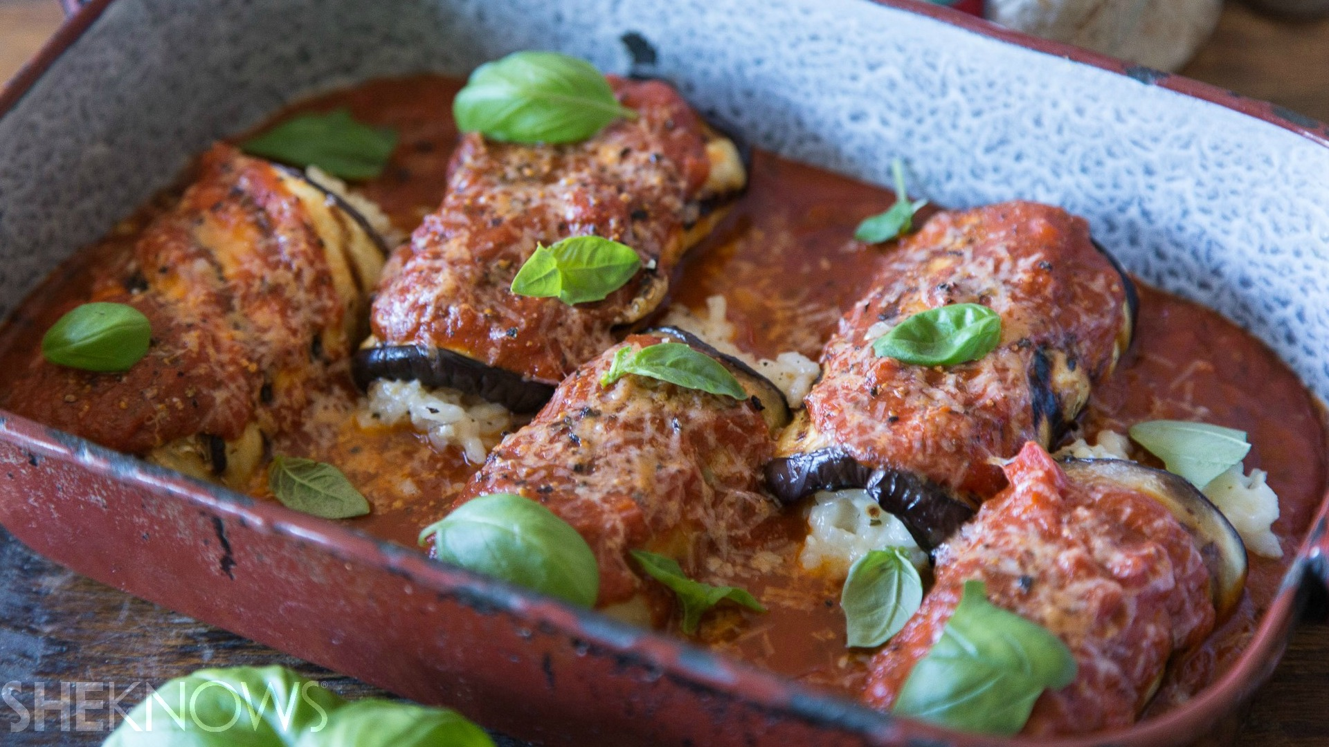 Eggplant rollatini with Parmesan risotto recipe