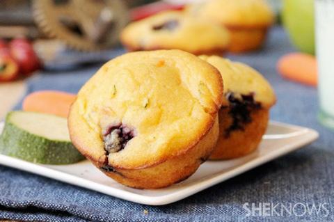 Fruity veggie and blueberry corn muffins recipe