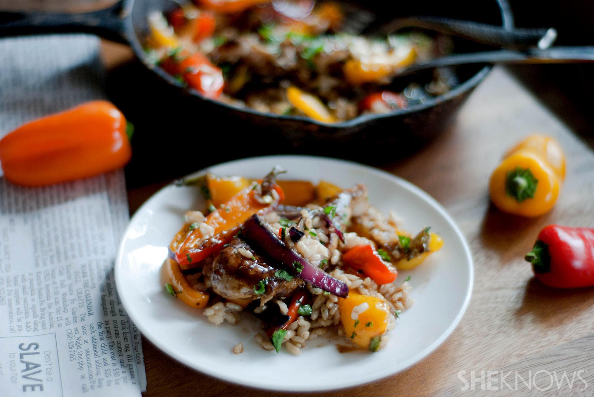 One-Pot Wonder: Rustic maple balsamic brown rice chicken skillet