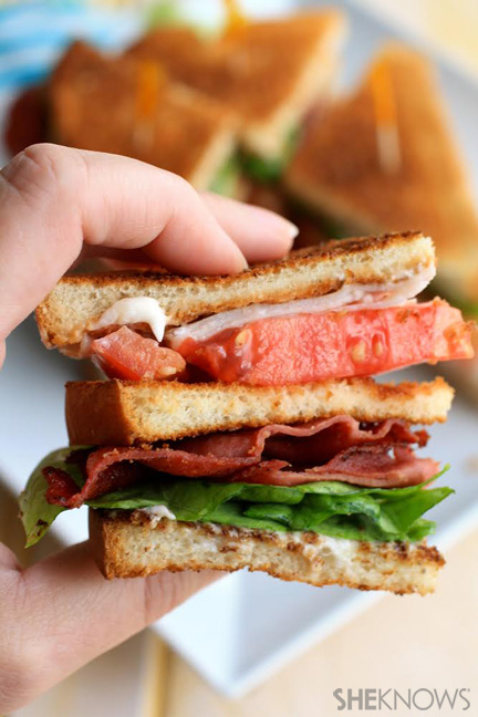 Fried bologna club sandwich