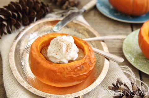 Pumpkin pie in a mini pumpkin