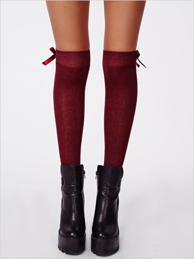 Over the Knee Socks in Oxblood
