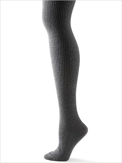 Ribbed Sweater Tights in grey
