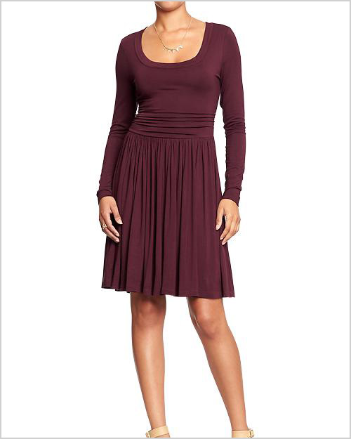 Side-Shirred Fit and Flare Dress in Raisin Arizona