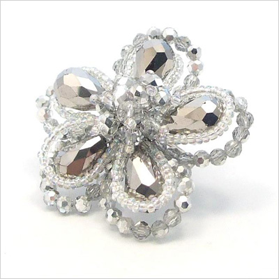 Floral crystal statement ring