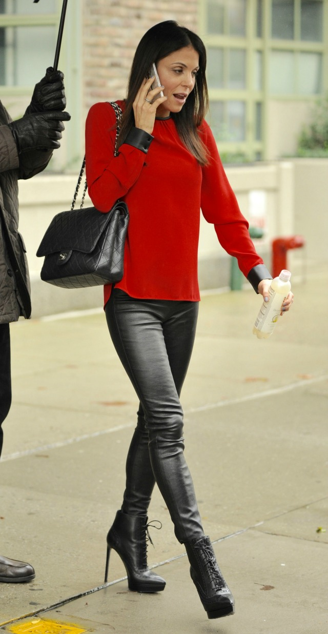 Bethany Frankel leather pants outfit