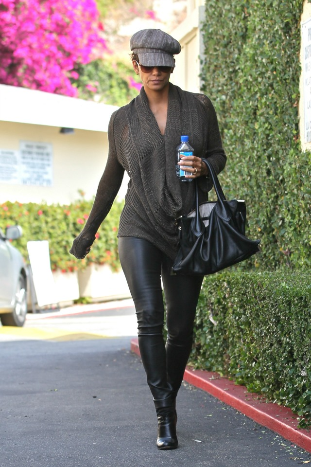 Halle Berry leather pants