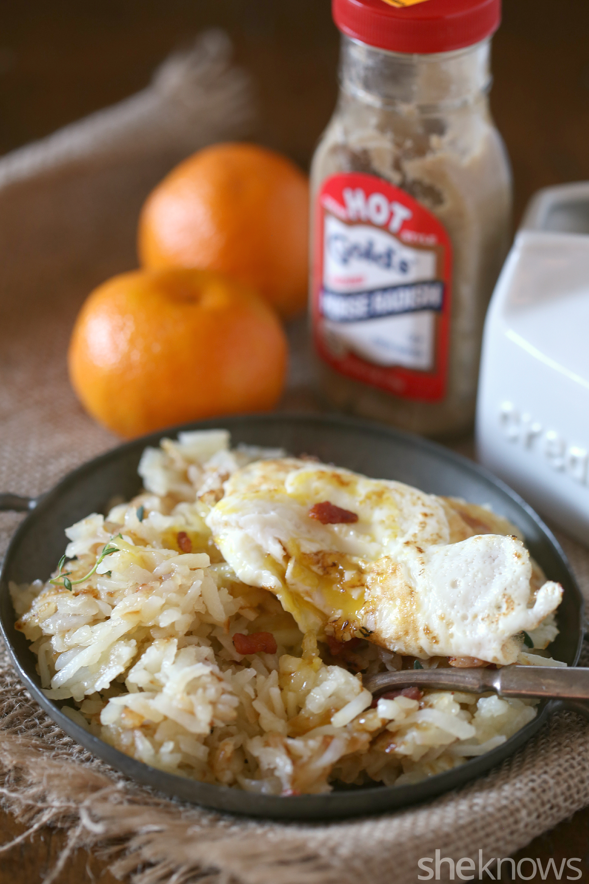 Try these horseradish hash browns topped by bacon and a fried egg for ...