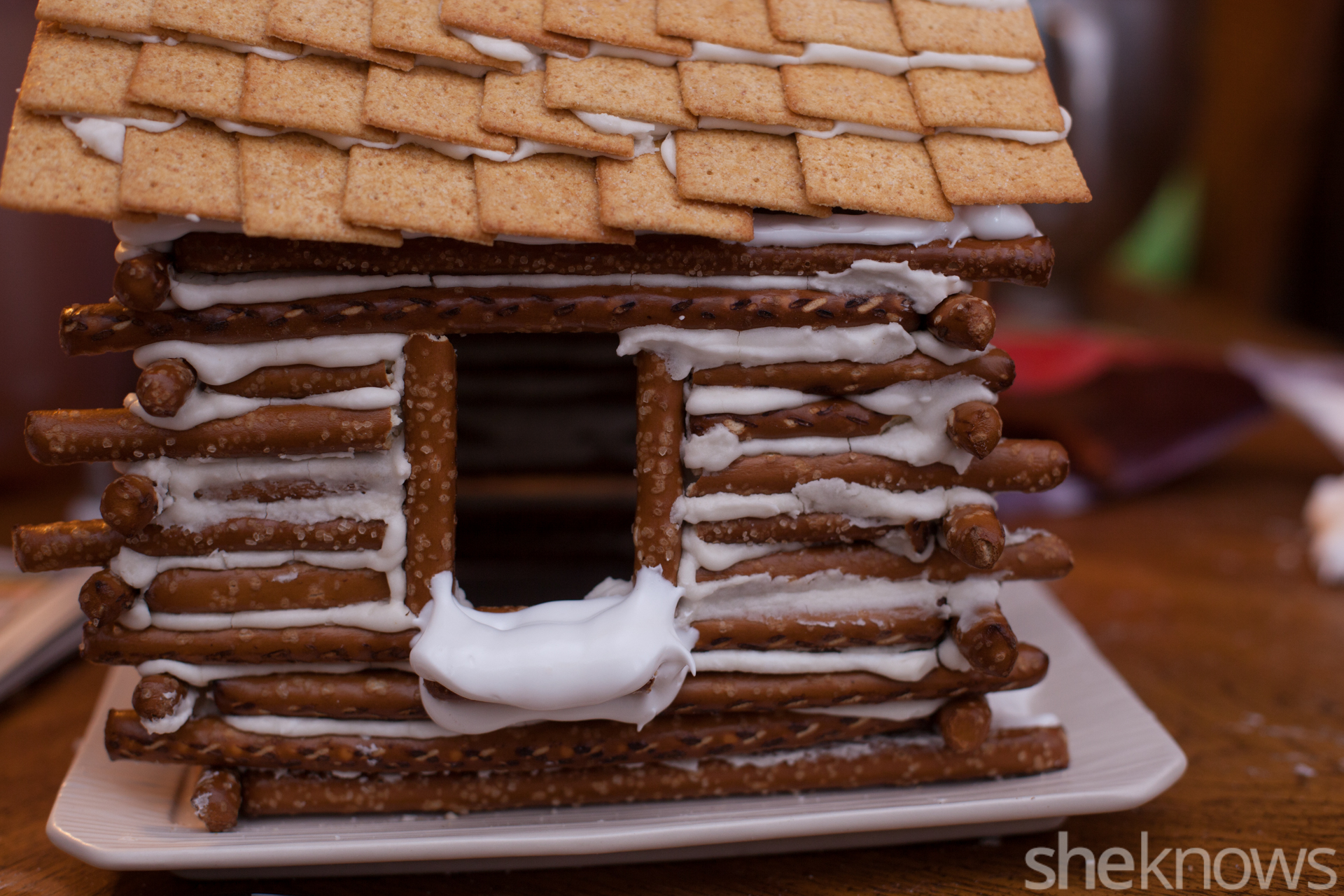 How To Make An Edible Snow Covered Pretzel Log Cabin