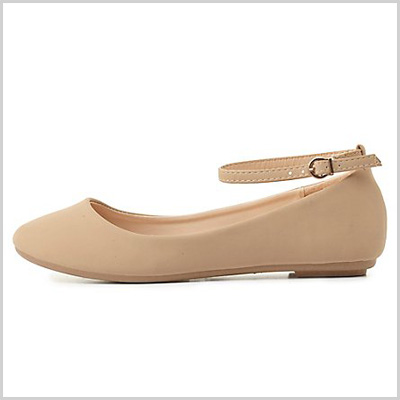 Bamboo Ankle Strap Flats in Nude