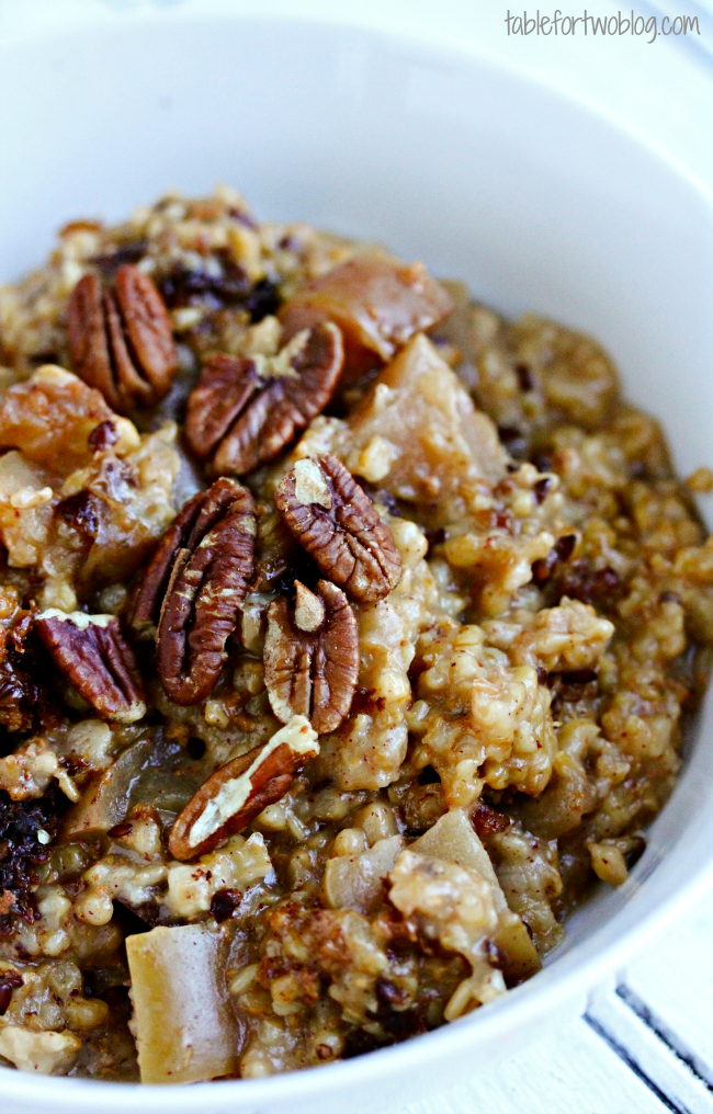 17. Overnight slow cooker apple-cinnamon steel-cut oatmeal recipe
