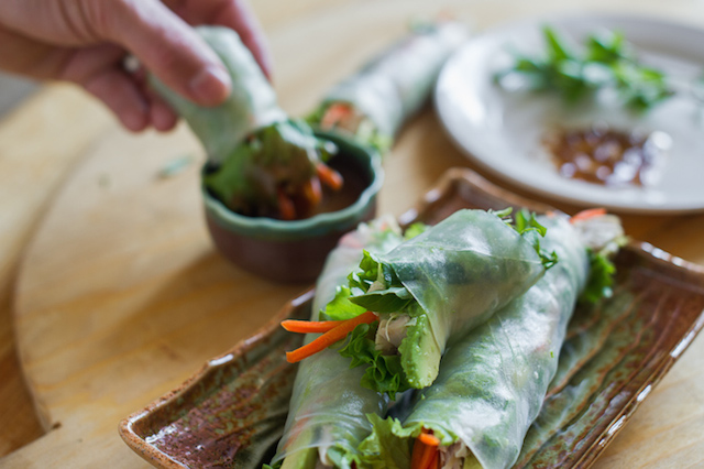 leftover turkey spring rolls with hoisin nut sauce