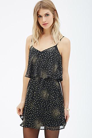 Flounced Metallic Cami Dress
