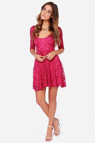 Fuschia lace dress