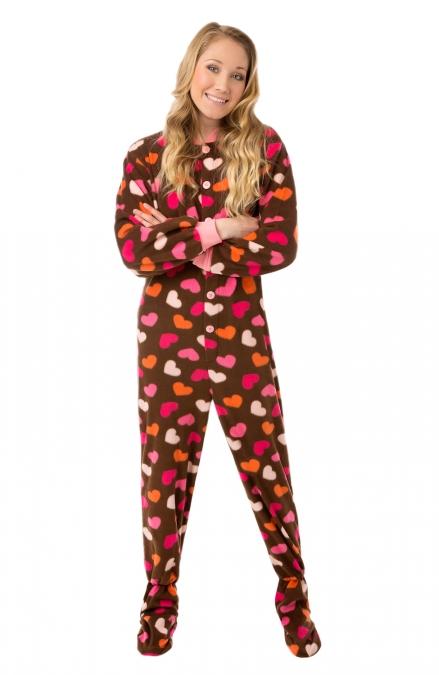 Hearts footed pajamas