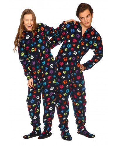 Paw Prints Footed Pajamas