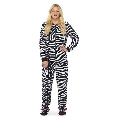 Zebra print footed pajamas