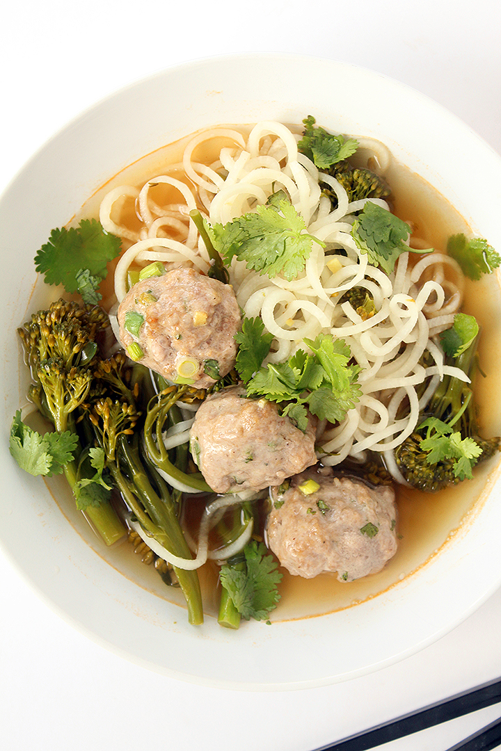 noodles and pork meatballs