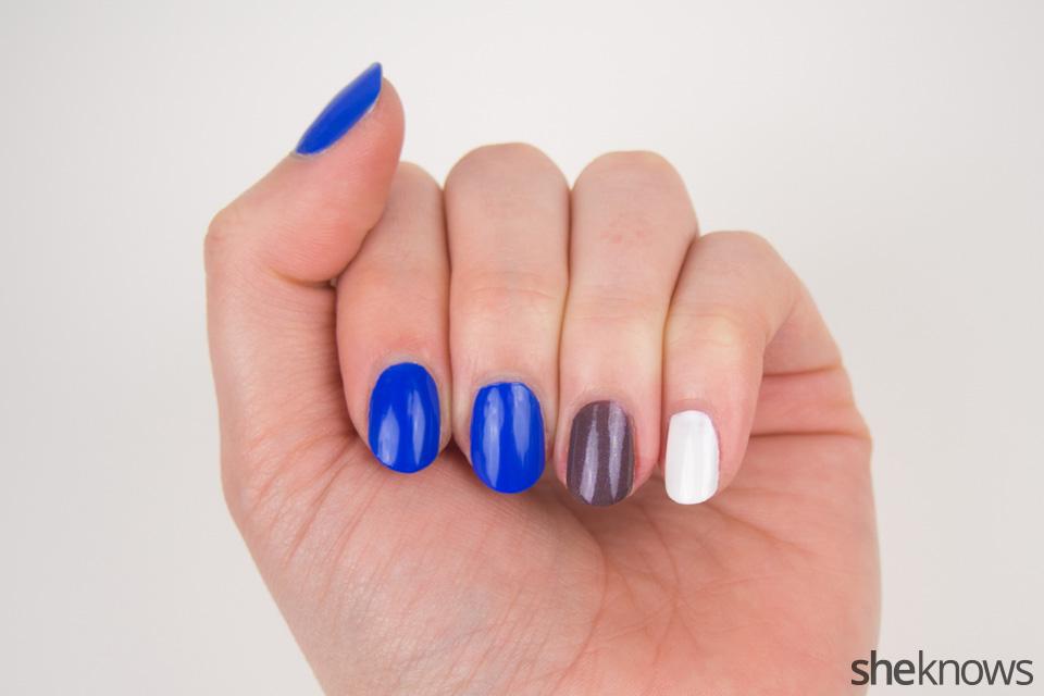 Colts Nail Art: Step 1