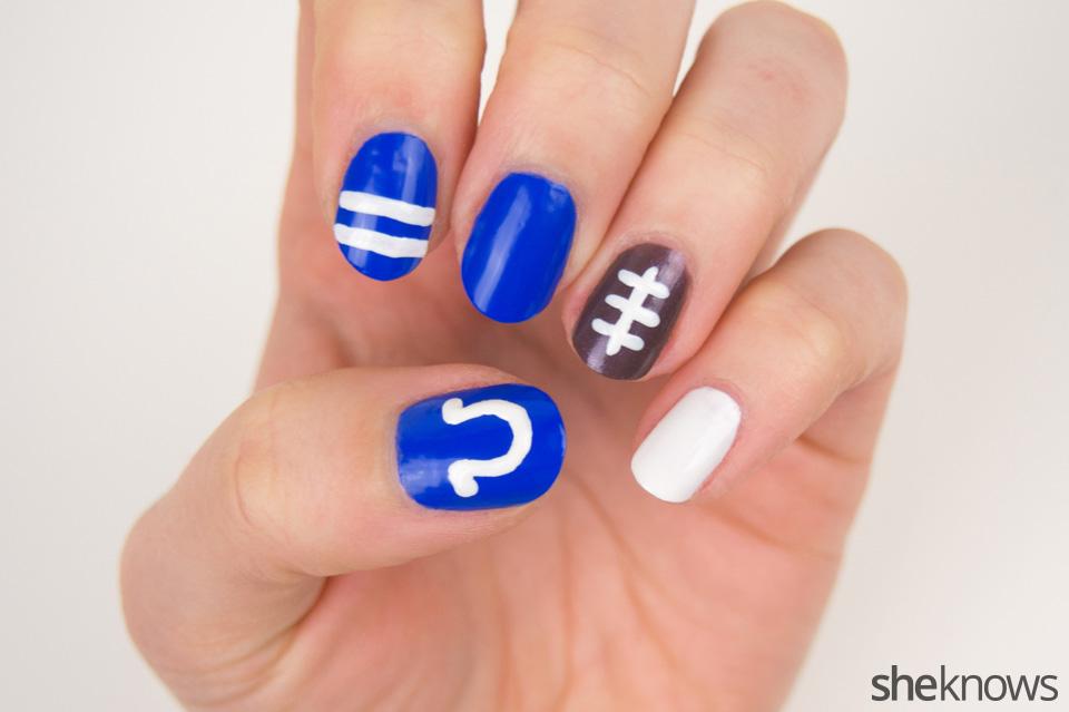 Colts Nail Art: Step 2