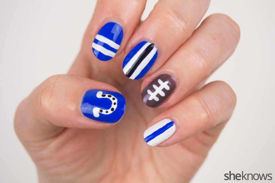 Colts Nail Art: Step 3