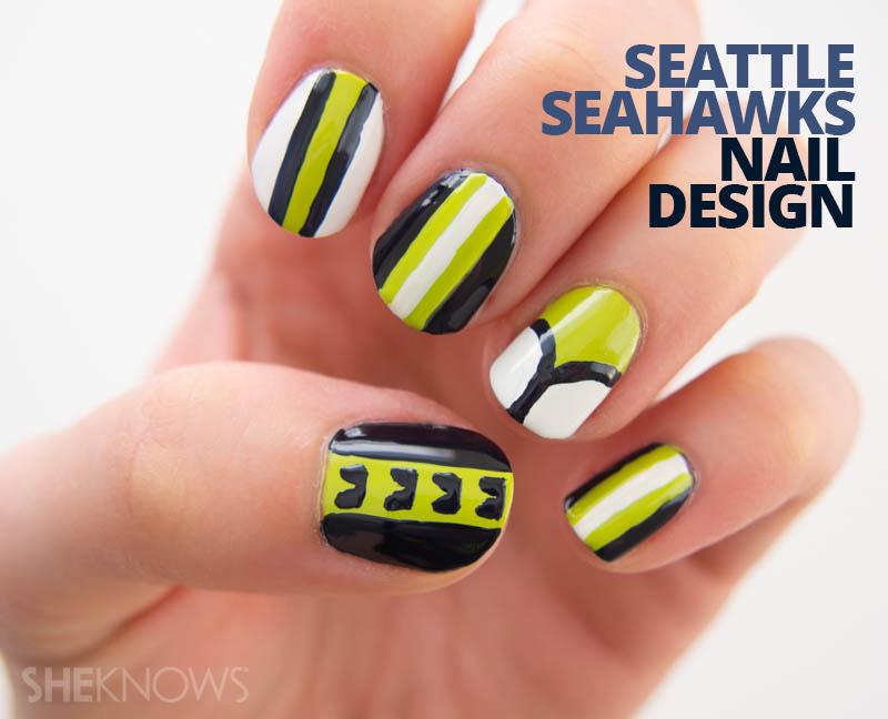 Seattle Seahawks nail design