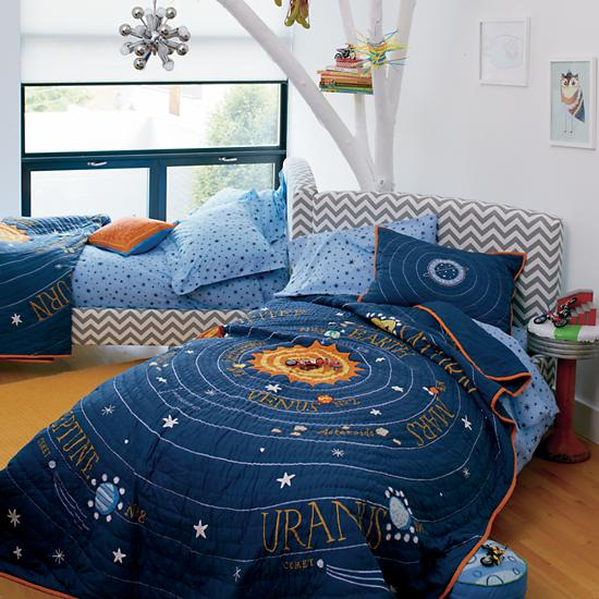 Solar System Bedroom : While Cat keeps her bed full of stuffed animals and girly throws ...