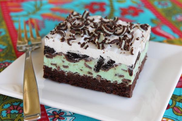 Chocolate Mint Cake Squares