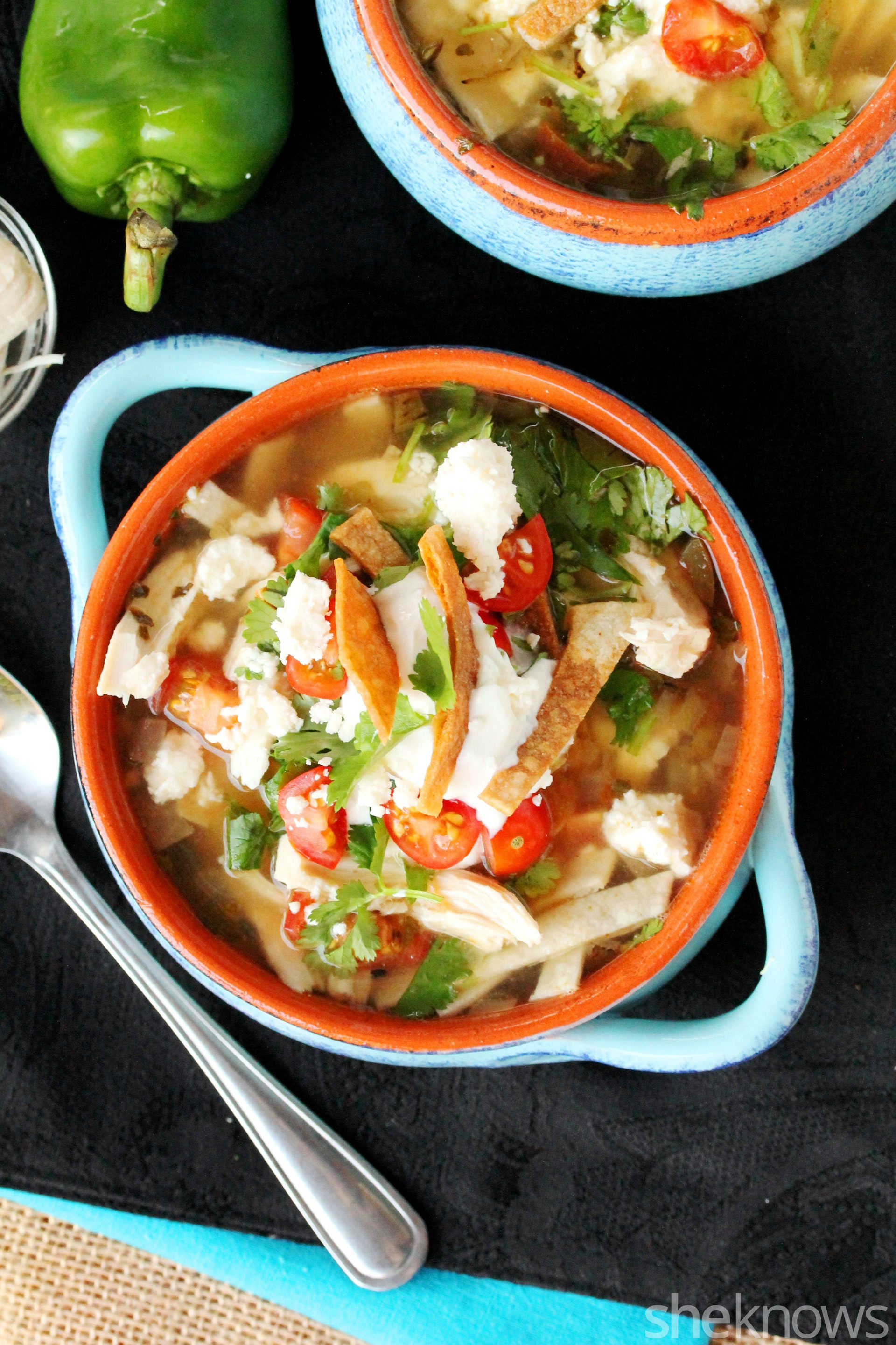 Slow cooker green chili chicken tortilla soup gets dinner done in no ...