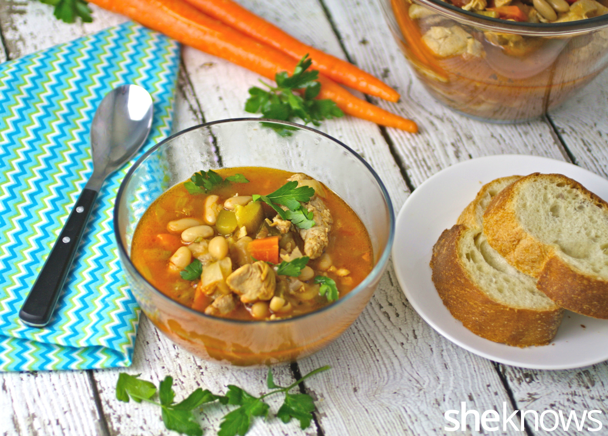 This recipe for Slow cooker Sunday chicken and sausage cassoulet is ...