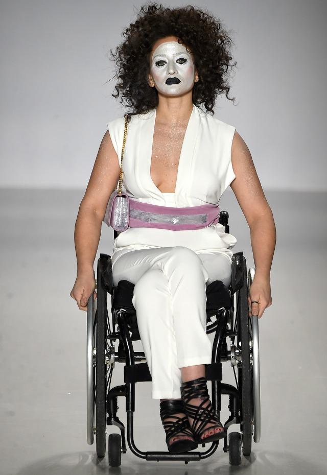 Model in a wheelchair