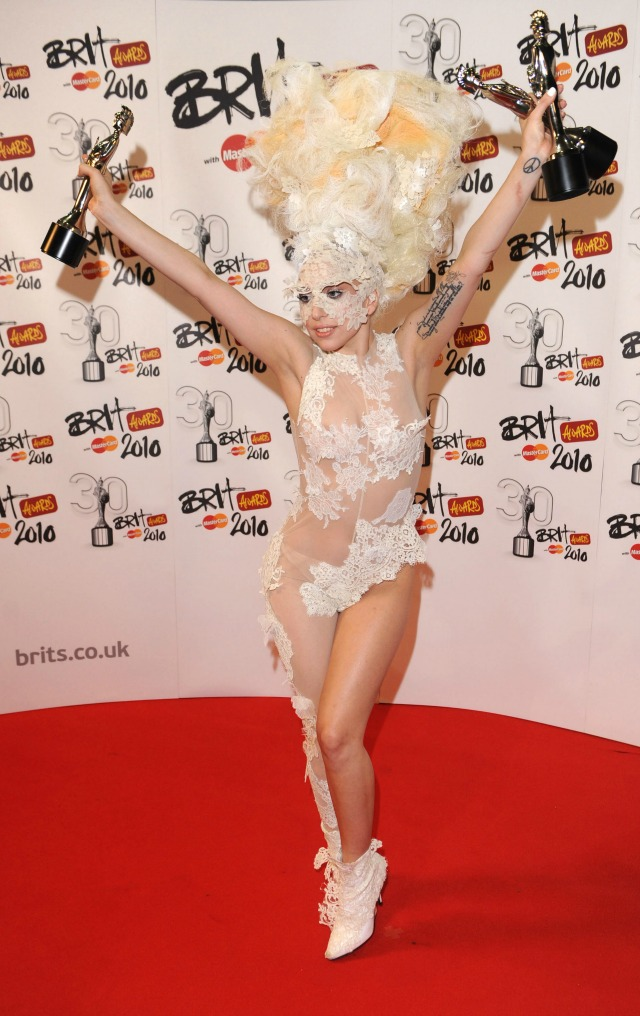Lady Gaga at the 2010 BRITS