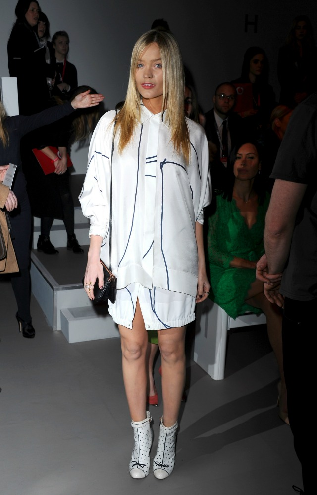 Laura Whitmore at London Fashion Week AW15