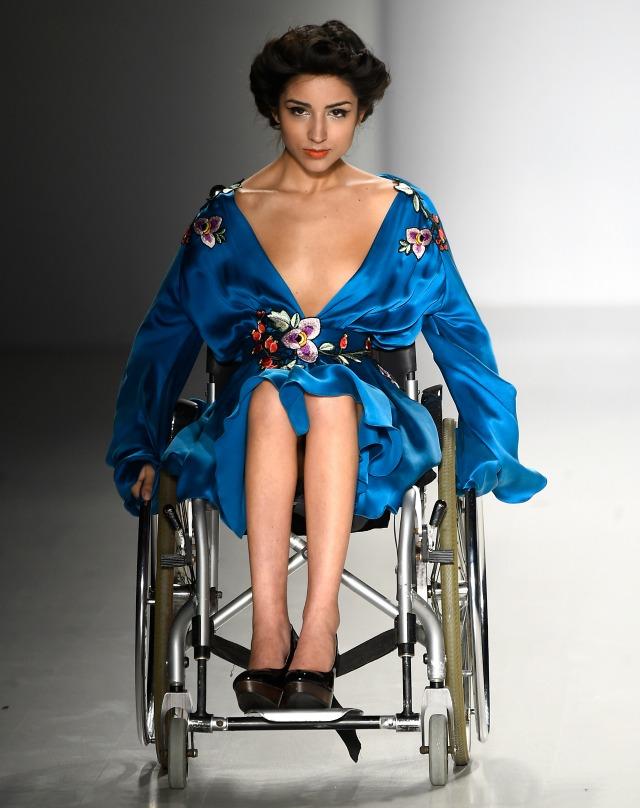 Inspiring disabled model at Fashion Week