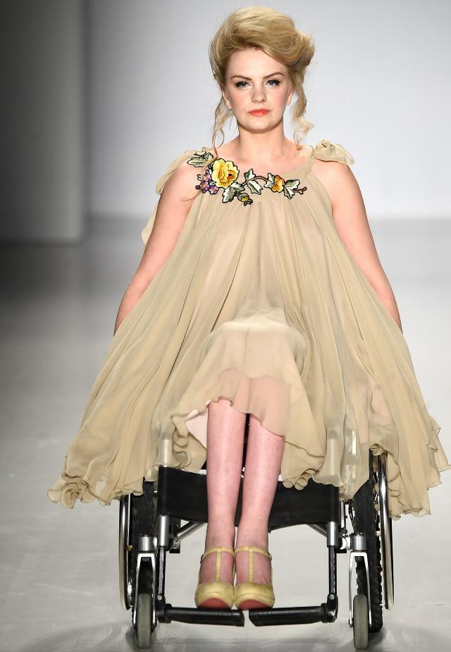 Fashion week model in wheelchair