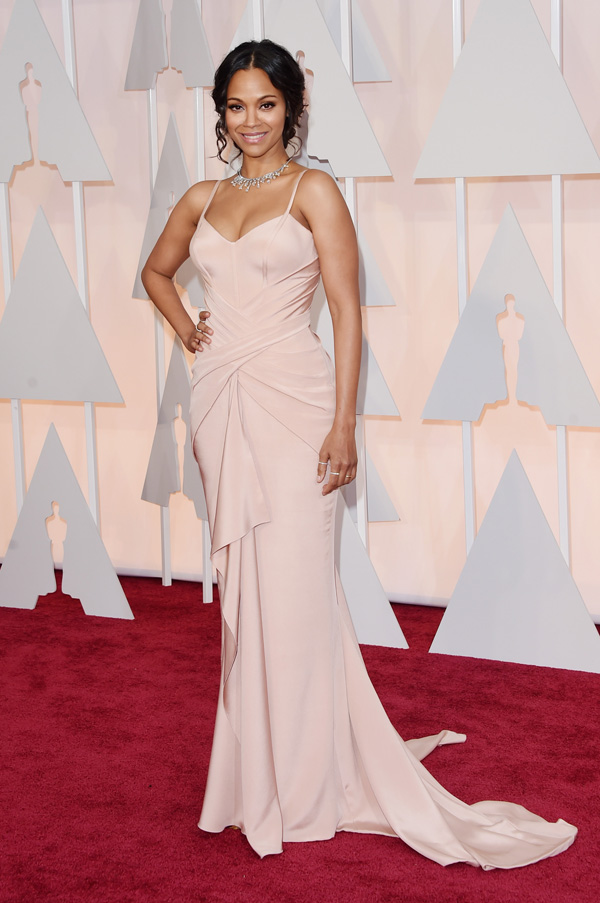 Zoe Saldana at the 2015 Oscars