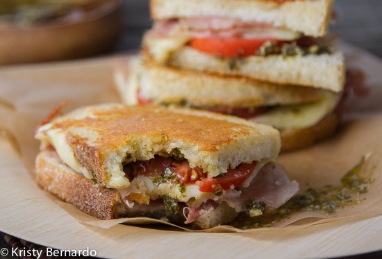 Parmesan-crusted grilled cheese with prosciutto, pesto and tomatoes ...