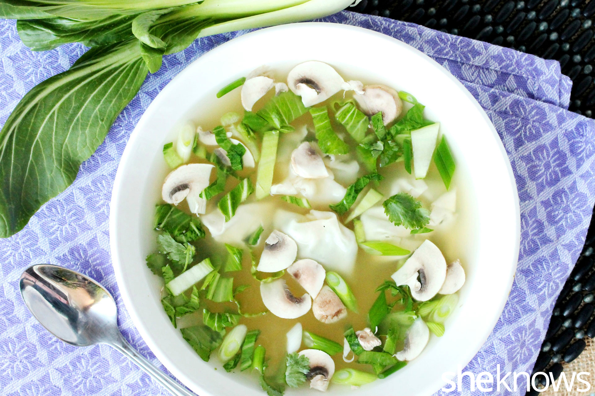 Wonton Soup With Bok Choy Recipe — Dishmaps