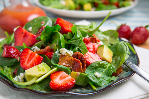 10. Strawberry and avocado spinach salad in