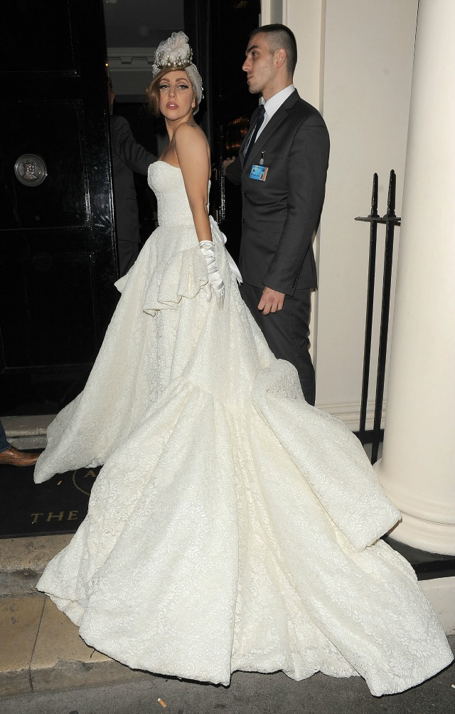 Lady Gaga in bridal style evening gown