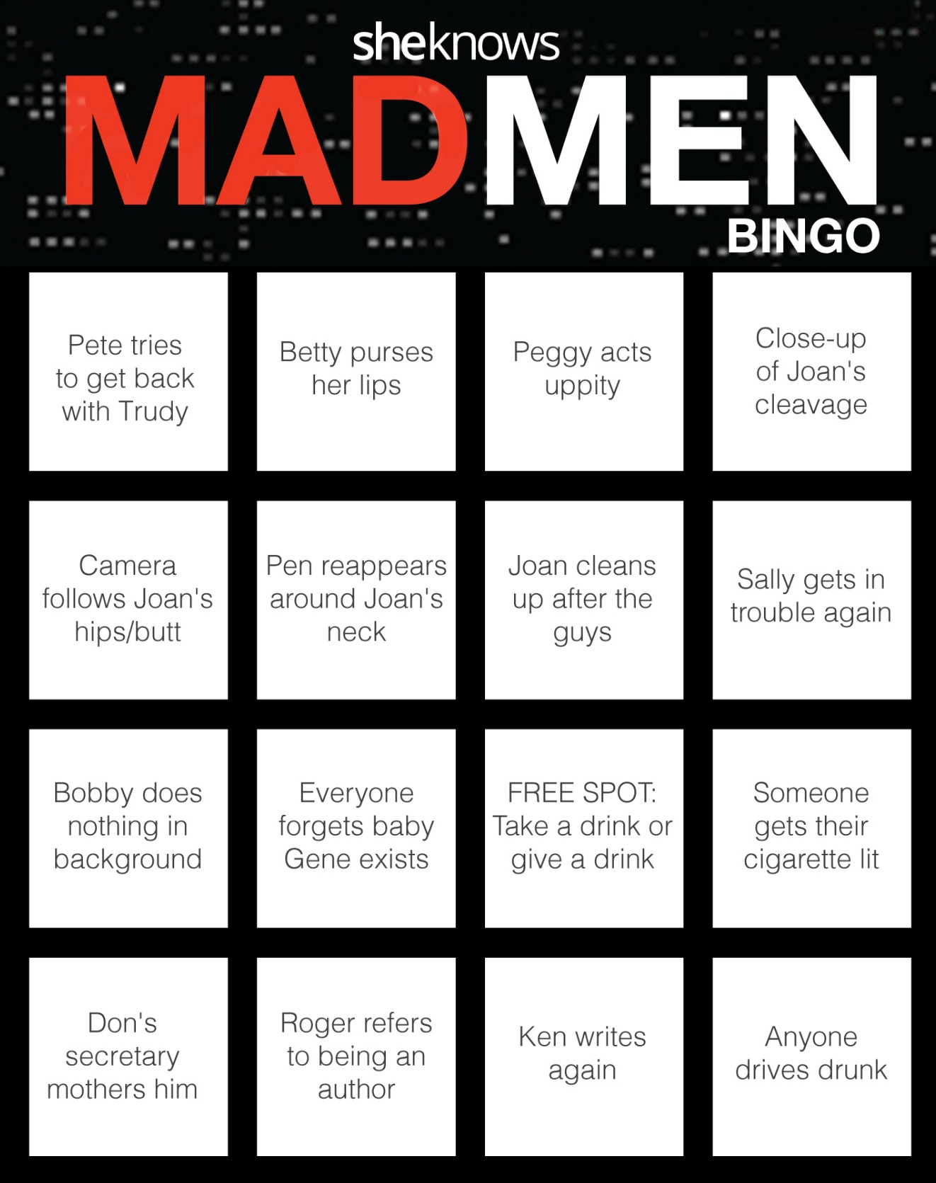 This Mad Men bingo game is the most fun you'll ever have drinking