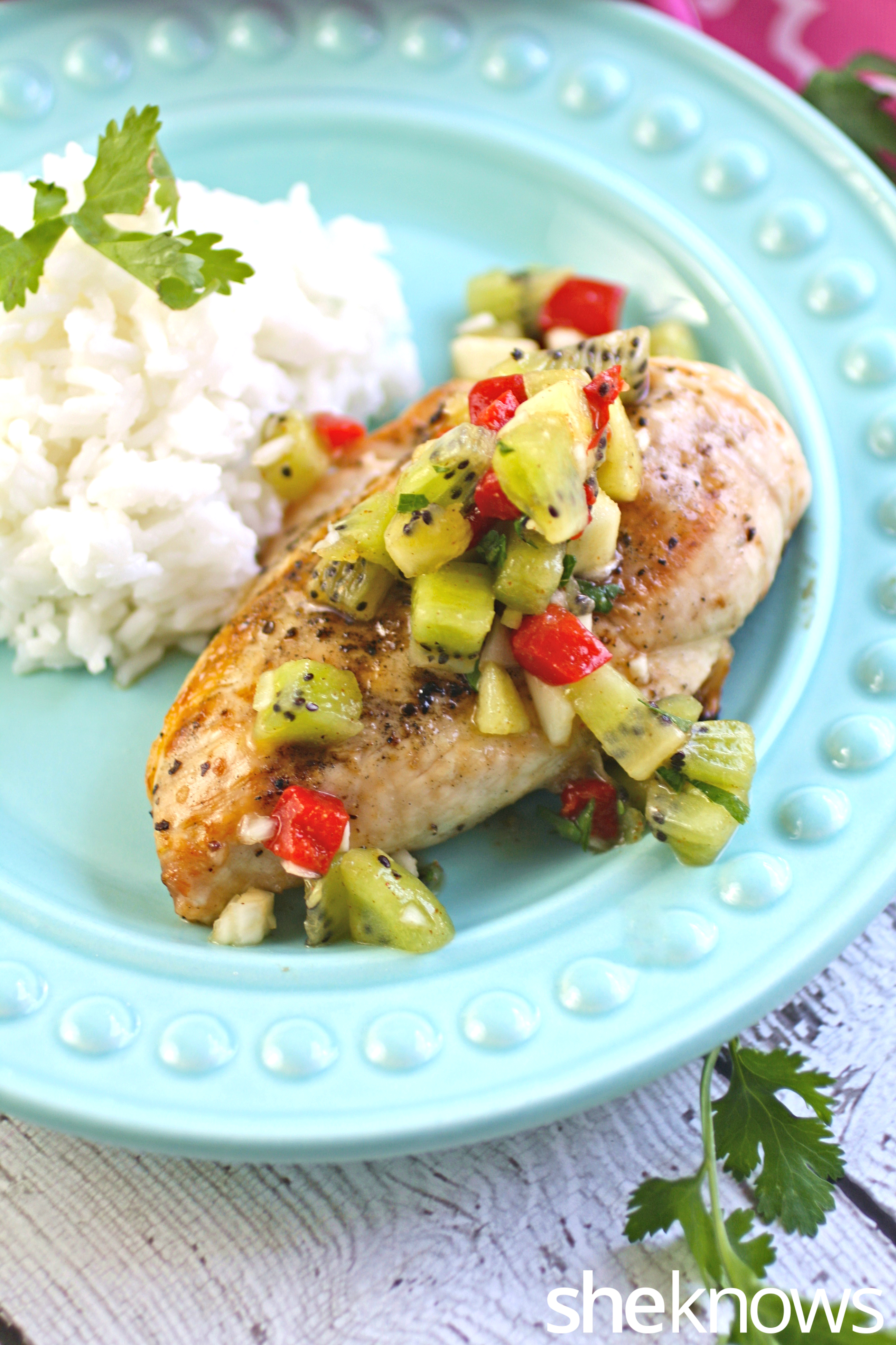 Grilled chicken with kiwi salsa and coconut rice is an easy all-in-one ...