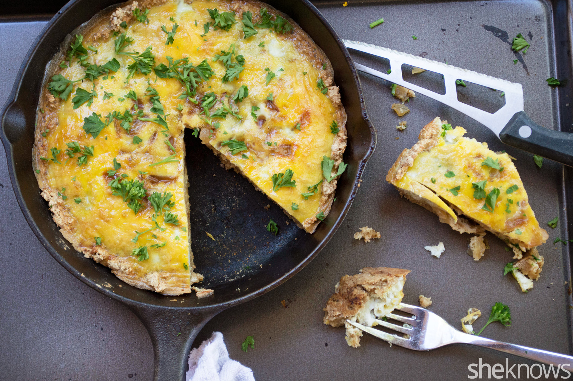Caramelized onion quiche perfect for easy gluten-free entertaining