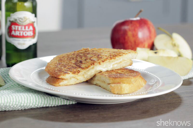 Stella-battered apple and gruyere grilled cheese